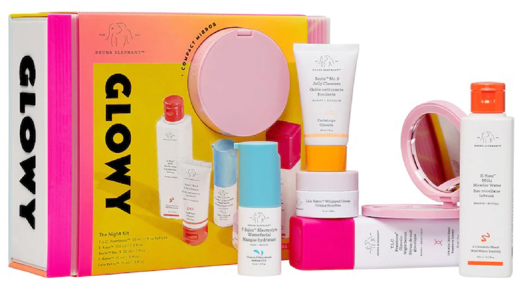 Drunk Elephant Glowy the Night skincare gift set